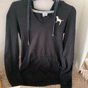 Pink Victoria secret black hoodie